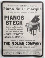 PUB 1914 PIANO STECK LISZT WAGNER GRIEG CARUSO THE AEOLIAN COMPAGNY AVENUE DE L OPERA PARIS NEW-YORK LONDRES BRUXELLES - Musical Instruments