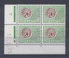 MONNAIE GAULOISE - PREO N° 137 - Bloc De 4 COIN DATE - NEUF** - 13/1/75 - 1 Point - Vorausentwertungen