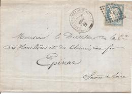 SAONE ET LOIRE (70) LAC De CHALON SUR SAONE OBLI  LP Sur CERES  + CAD GARE DE CHALON SUR SAONE Pour EPINAC - 1849-1876: Classic Period