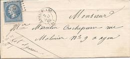 LOT (44) ENV De CASTELFRANC PC 749 Sur NAP (MAI 1863) Pour AGEN - 1849-1876: Classic Period
