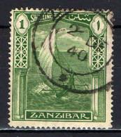 ZANZIBAR - 1936 - DHOW - IMBARCAZIONE TIPICA DELL'OCEANO INDIANO - USATO - Zanzibar (...-1963)