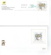 Prêt à Poster Voeux Interne Au Groupe La Poste 2021 Métiers D'Art Gravure Sur Métal Lettre Verte - Listos A Ser Enviados: Otros (1995-...)