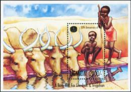 UGANDA 1995 50th Anniversary Of FAO A Bore Well For Livestock & Irrigation Ox Bulls Animals Fauna MNH - Altri