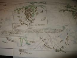 BELLE CARTE COULEURS GUERRE CRIMEE & SIEGE DE SEBASTOPOL + 4 CALQUES MANUSCRITS Vers 1853 - Documentos