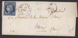 LOIRET: Pli Avec 25c Céres Non Dentelé Bleu Foncé Oblt Grille + CàD Type 15 MONTARGIS (43) > EVREUX - 1849-1876: Periodo Clásico