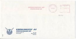 Meter Slogan Test Cover Pitney Bowes / Greenlandair, Airline Carrier - 21 October 1975 Godthåb, Nûk - Automatenmarken