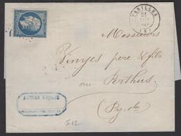 ARIEGE: Pli Avec 20c Empire Non Dentelé Oblt Los PC 3194 + CàD Type 15 VARILLES (8) > LE PERTHUS - 1849-1876: Classic Period