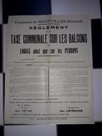 Neufvilles Affiche 42 X 34 Publication De La Commune Au Sujet De La Réglementation Sur Les Balcons, Logias, Perrons 1920 - Affiches