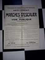 Neufvilles Affiche 42 X 34 Publication De La Commune Au Sujet De La Réglementation Sur Les Marches D'escaliers 1920 - Affiches