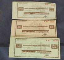 CHEQUES DE VIAJERO BANCO POPULAR DEL URUGUAY CIRCA 1930 TRAVELLER CHEQUES CHECKS LOT OF 3 #11 - Cheques & Traverler's Cheques
