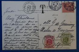 G3 FRANCE CARTE 1905 TOURMAI POUR BELGIQUE + TAXES BELGES +ARRAS LE BEFFROI + AFFRANCH. BINATIONALITéPLAISANT - Lettres & Documents