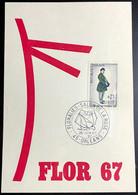 Carte Flor 67 Avec N°1516 Floralies - Salon De La Rose Orléans 26/06/1967 - Cachets Commémoratifs