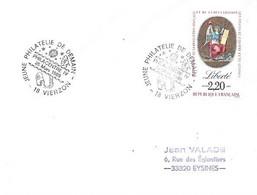 """Temporaire 18 Vierzon 26 Mars 1989 """"Philacentre IV"""" - Cachets Commémoratifs"""