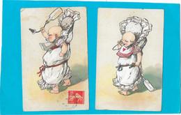 BEBES - Lot 2 Cpa Illustrées - Bébé Debout  Dans Couffin, Lancer De Biberon - Bébés