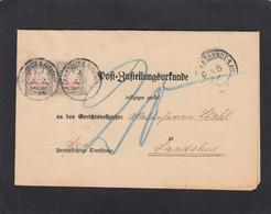 POSTZUSTELLUNGSURKUNDE VON LANDSHUT ,MIT 2 X MI. PORTO 12B. - Bavaria