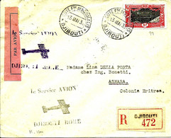 "En REC. SERVICE AVION DJIBOUTI -ROME Pour ASMARA ""Colonia ERITREA"" - 1932 - - Briefe U. Dokumente"