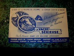 """Vieux Papier Buvard D'occasion Fromage La Vache Sérieuse (juras """" Grosjean Ville"""" - F"""