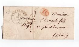 * - Lettre De 1846 De Juliénas, Lettre M, Oblitérée De Romanêche, Cachet ID Pour Pont De Vaux - 1801-1848: Vorläufer XIX