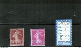 FRANCE LUXE ** N°189/90 - 1906-38 Semeuse Camée