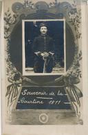 Carte-photo : Portrait Militaire - N°21 Sur Le Col - Souvenir De La Courtine (1911) (BP) - Guerra, Militari