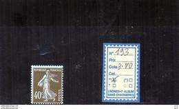 FRANCE LUXE ** - N° 193 - 1906-38 Semeuse Camée