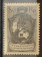 """Liechtenstein 1921: """"Rotes Haus"""" (80 Rp) Zu 59 Mi 59 Yv 58 ** Postfrisch MNH (Zumstein CHF 85.00) - Unused Stamps"""