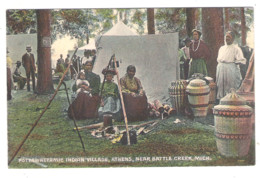 POTTAWATTAMIE INDIAN VILLAGE, ATHENS, NEAR BATTLE CREEK, MICH. - - Indios De América Del Norte