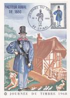 FRANCE, CARTE MAXIMUM, Journée Du Timbre, Facteur Rural En 1830, Epinal 16  Mars 1968 - 1960-69