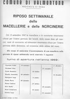 Roma-valmontone -locandina Originale Riposo Settimanale Macellerie E Norcinerie.1969-ottimo Stato - Affiches