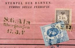 FERROVIE - MARCA TRANSIZIONE F.0,02/L.0,05 / + AUSTRIA 1 Kr Su LETTERA DI PORTO  VERONA ROVERETO ALA DEL 16/3/1869 N- R. - Fiscaux