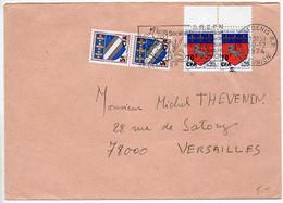 Réunion CFA : Blason Troyes X2 + Saint Lo X2 Sur Lettre Du 30.12.1974 (Avant-dernier Jour Utilisation Timbres CFA) - Storia Postale
