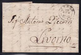 Italy - 1850 Entire Letter Prato To Livorno - 1. ...-1850 Prephilately