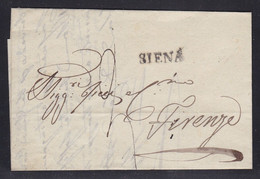 Italy - 1842 Entire Letter Siena To Firenze - 1. ...-1850 Prephilately