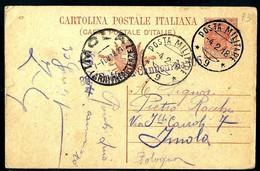§ CARTOLINA POSTALE IN FRANCHIGIA  PM 9  DIVISIONE X IMOLA  BOLOGNA § - War 1914-18