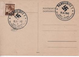 """Bohmen Und Mahren 1942, Pardubitz-Pardubice Card With Special Cancel, """"Drei Jahre Im Grossdeutschland"""" - Interesting - Storia Postale"""