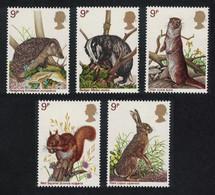 Great Britain Hedgehog Hare Squirrel Badger Otter Animals Wildlife 5v 1977 MNH SG#1039-1043 MI#745-749 SC#820a - Unused Stamps
