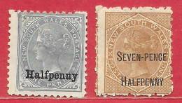 Nouvelle-Galles Du Sud N°69 0,5p Sur 1p Gris & N°70 7,5p Sur 6p Brun 1891 (*) & * - Mint Stamps