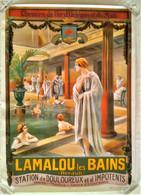 AFFICHE ANCIENNE ORIGINALE TOURISME LAMALOU LES BAINS HERAULT 34 ILLUSTRATEUR BELON REPRO 1986 PISCINE FEMME BAIGNEUSE - Affiches