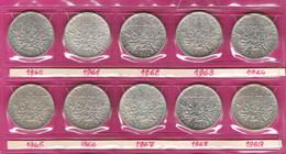 FRANCE Monnaies  Lot 10 Pièces Semeuse 5 Francs Argent Complet 1960 à 1969 - J. 5 Francs