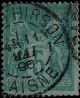 -Sage N°75 Type II  Ob  ( CAD  ) .GARE D'HIRSON. 1896. ( 02 ) - 1876-1898 Sage (Type II)