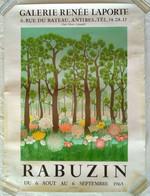AFFICHE ANCIENNE ORIGINALE LITHOGRAPHIQUE EXPOSITION PEINTURE NAIVE RABUZIN 1965 IMP. DESJOBERT - Affiches