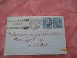 Paire Timbre Sage 25 C Sur Lettre Rochefort Sur Mer Pour Niort - 1849-1876: Klassieke Periode
