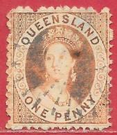 Queensland N°24 1p Rouge-orange (filigrane étoile) 1868-75 O - Oblitérés