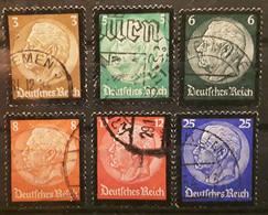 Deutsches III Reich Allemagne 1934, Série Mort Du Président HINDENBURG Yvert  503 / 508  Obl TB Cote 15 Euros - Used Stamps