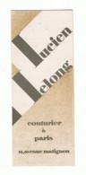 Marque Pages Publicitaire  - Lucien LELONG Couturier à Paris - Couture, Vêtement,.. ( B260/8) - Bladwijzers