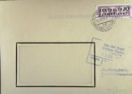 DDR: ZKD-Brief Mit 20 Pf EF Von Aufbauleitung Kombinat Schwarze Pumpe Vom 12.12.57 Nach Zwickau (Sachs) Knr: B 11 (6012) - Official