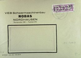 DDR: ZKD-Brief Mit 20 Pf EF Vom VEB Schwermaschinenbau  NOBAS Nodhausen Vom 3.5.57 Nach Oschersleben Knr: B 11 (9008) - Official