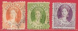 Queensland N°30 1p, N°33 6p, N°34 1S ((filigrane Q, Dentelé 12-13) 1869-76 O - Usati