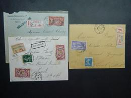 1919 - 1924 3 Lettres En Recommandé Dont 1 Chargée Timbres Merson 40 C 60 C Et 1 Fr - 1900-27 Merson