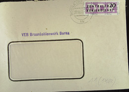 DDR: ZKD-Brief Mit 20 Pf EF Von VEB Braunkohlenwerk Borna Vom 9.11.57 Nach Riesa  Knr: B 11 (1402) - Official